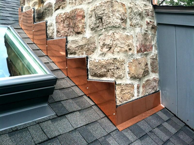 Copper chimney flashing repairs