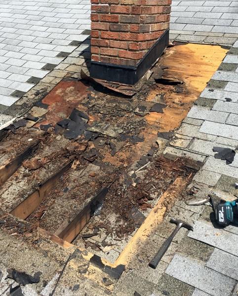 Chimney leak repair - before